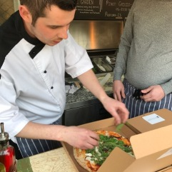 Top Chef Phil Kent Boxing Up Pizza from the NEW Pizza Potting Shed